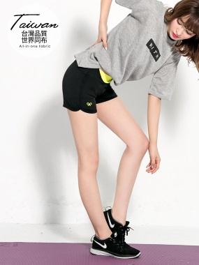 翹臀線條~腰頭撞色貼合運動休閒彈力短褲.4色
