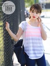 台灣品質.世界同布~橫條織紋透光下擺弧形上衣.5色