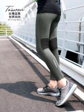 台灣品質.世界同布~拼網紗反光條運動瑜伽九分褲.3色