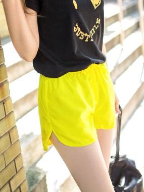 台灣品質.世界同布~素色蝴蝶結綁帶運動休閒短褲.4色