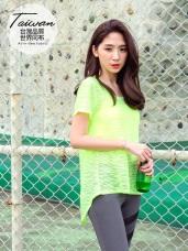 台灣品質.世界同布~橫條透膚背交叉綁結運動上衣.6色