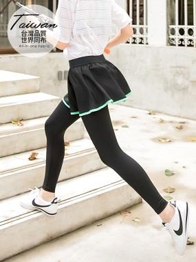 台灣品質.世界同布~假兩件式拼色邊運動褲裙