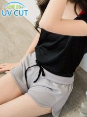 拼接橫條紋抗UV運動褲