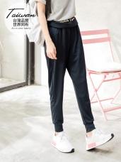 台灣品質.世界同布~英文腰圍造型彈力運動長褲