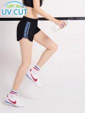 台灣品質.世界同布~抗UV牛仔印花腰鬆緊運動短褲