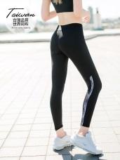 台灣製造~15%彈力纖維吸濕排汗拼接印花運動褲