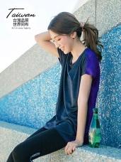 台灣製造~吸濕排汗拼色連袖寬鬆運動上衣