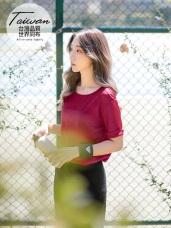 台灣製造~吸濕排汗花紗袖反褶運動上衣