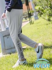 台灣製造吸濕排汗抗UV英文印花運動長褲