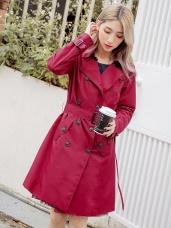 防風防雨經典風衣長版外套(附綁帶