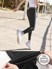 台灣製造.20%高彈力鬆緊條紋瑜伽運動褲