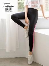台灣製造~撞色拼接吸濕排汗運動瑜伽彈力褲