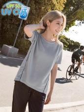 台灣製造.吸濕排汗抗UV印花拼接運動上衣