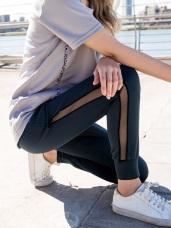 抗UV腰抽繩網紗拼接縮口運動長褲