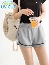 台灣製造.抗UV印花拼接腰鬆緊運動短褲