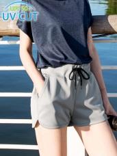 台灣製造.抗UV腰鬆緊抽繩拼色印花運動短褲