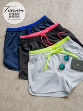 台灣製造~腰鬆緊拼色綁帶運動短褲