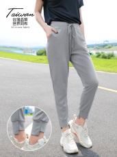 台灣製造~腰抽繩抗UV運動休閒縮口長褲