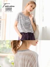 台灣製造~吸濕排汗花紗後背條紋透膚運動上衣