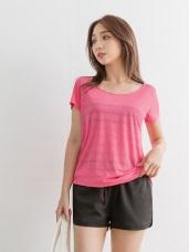 台灣製造~圓領吸濕排汗橫條紋透膚長版上衣(可斜肩