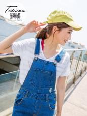 台灣製造~吸濕排汗橫條紋微透膚背鏤空V領上衣