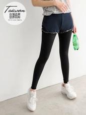 台灣製造.假兩件迷彩印花拼接運動內搭褲