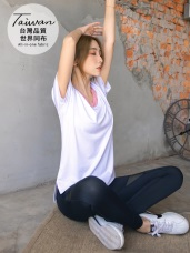 台灣製造~透膚網紗拼接彈性吸濕排汗機能運動褲