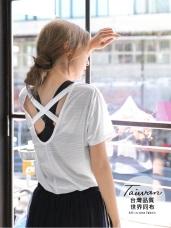台灣製造~背後交叉織帶機能透氣上衣