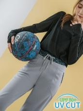 台灣製造~腰頭印花設計造型純色運動束口褲