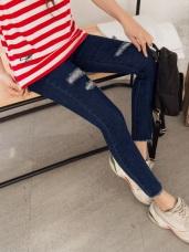 羅小白~個性刷色破損彈力修身窄管牛仔褲
