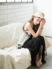 網紗拼接造型無袖背心長洋裝.3色
