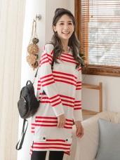 側襬開衩橫條紋高含棉洋裝