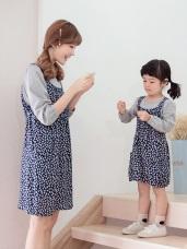 親子款~高棉假兩件綁帶印花洋裝