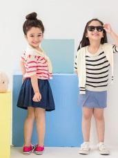 親子系列~可愛甜心~條紋披肩造型五分袖上衣.童3色