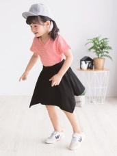 正反兩穿不規則棉質短裙‧童2色