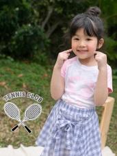 網球拍印花拼接袖竹節棉上衣‧童2色