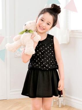 娃娃領蕾絲拼接圓點無袖洋裝‧童2色