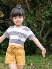 橫條紋流蘇造型圓領短袖上衣‧童2色