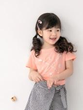 美式燙印棉質圓領短袖上衣‧童2色