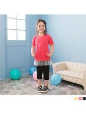 純色側開衩設計彈力鬆緊七分褲‧童4色