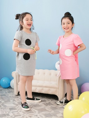 公主袖大圓點口袋造型長版上衣/洋裝‧童2色