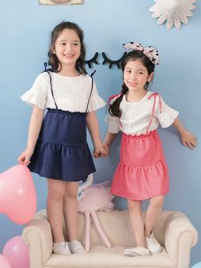 雕花蕾絲假兩件吊帶蛋糕裙拼接造型洋裝‧童2色