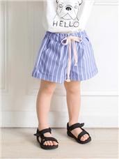 直條紋反摺造型鬆緊休閒短褲‧童2色
