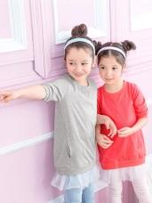 假兩件長版拼接紗裙造型洋裝‧童2色