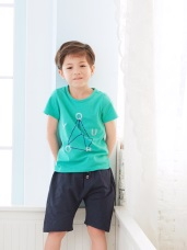 舒適寬鬆裝飾釦造型休閒短褲‧童2色