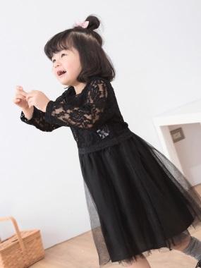 蕾絲雕花澎澎裙兩件式洋裝