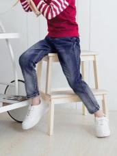 腰鬆緊刷白直筒彈性牛仔褲