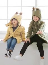 蓬鬆暖感毛球造型連帽羽絨外套