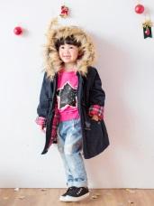高含棉袖反褶格紋牛角釦毛邊連帽鋪棉外套