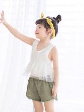 親子裝系列~高含棉腰鬆緊下襬抽鬚立體壓褶短褲